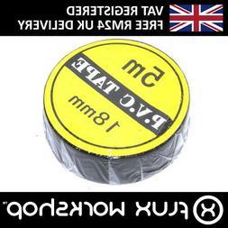 5m Black PVC Tape 16mm Electronics Toolkit Insulating Mains